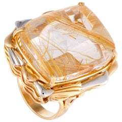 Rectangular Rutilated Quartz Platinum and Yellow Gold Ring