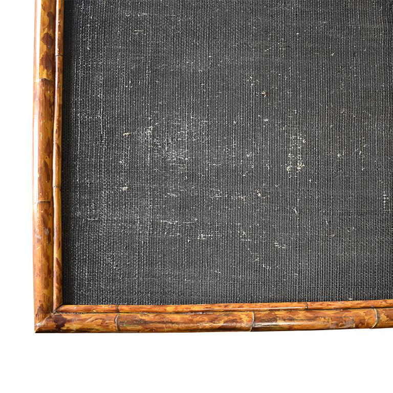 British Colonial Rectangular Scorched Burnt or Tortoise Bamboo and Cane Coffee or Cocktail Table For Sale