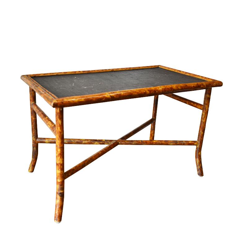 Central Asian Rectangular Scorched Burnt or Tortoise Bamboo and Cane Coffee or Cocktail Table For Sale