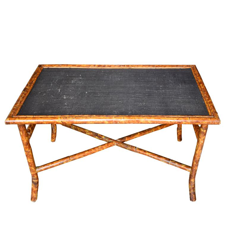 Rectangular Scorched Burnt or Tortoise Bamboo and Cane Coffee or Cocktail Table In Good Condition For Sale In Oklahoma City, OK