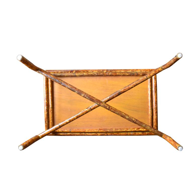 20th Century Rectangular Scorched Burnt or Tortoise Bamboo and Cane Coffee or Cocktail Table For Sale