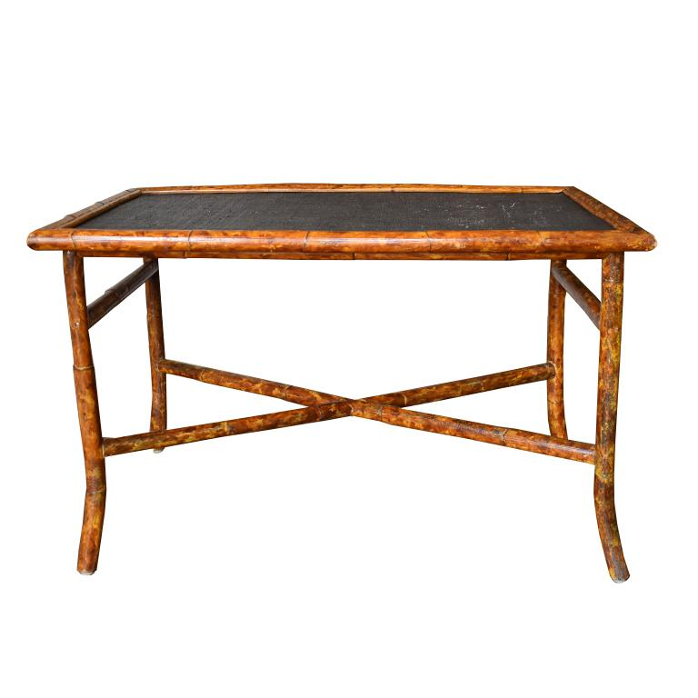 Rectangular Scorched Burnt or Tortoise Bamboo and Cane Coffee or Cocktail Table For Sale 1
