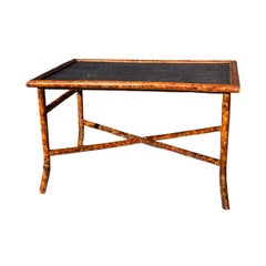 Rectangular Scorched or Tortoise Bamboo and Cane Coffee or Cocktail Table