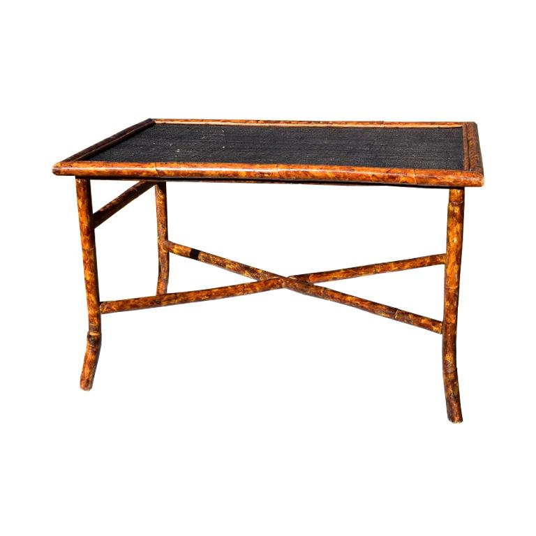 Rectangular Scorched Burnt or Tortoise Bamboo and Cane Coffee or Cocktail Table For Sale