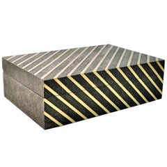 Rectangular Shagreen Box with Brass Trims by Ginger Brown