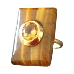 Rectangular Shape Tiger Eye Faceted Oval Yellow Citrine 14 Kt Gold Cocktail Ring