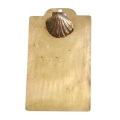 Rectangular Shiney Brass Seashell Motif Clipboard Desk Accessory Art Deco