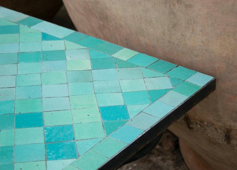 Rectangular Spanish Green Glazed Zellige Tiled Iron Outdoor Table For Sale 5