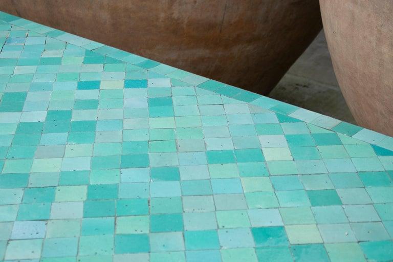 Rectangular Spanish Green Glazed Zellige Tiled Iron Outdoor Table For Sale 6