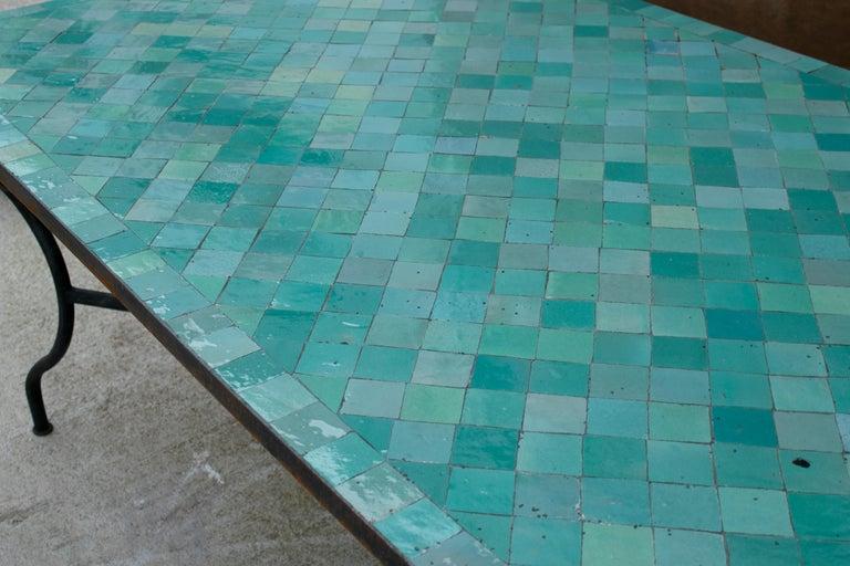 Rectangular Spanish Green Glazed Zellige Tiled Iron Outdoor Table For Sale 7