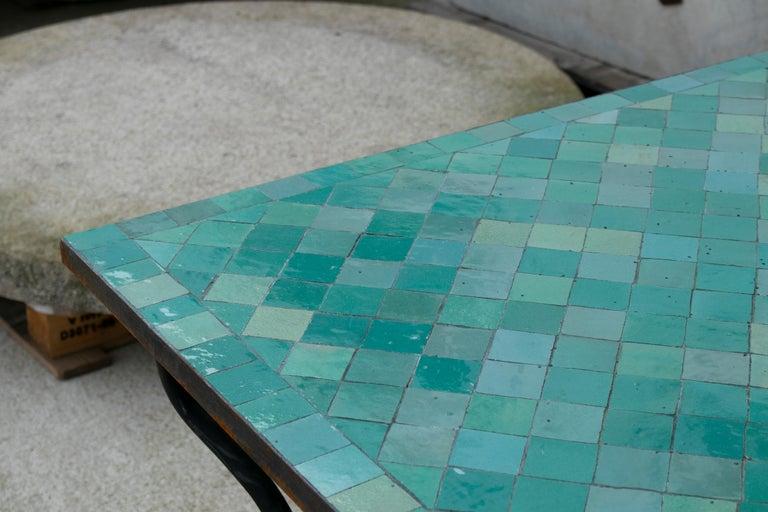 Rectangular Spanish Green Glazed Zellige Tiled Iron Outdoor Table For Sale 8