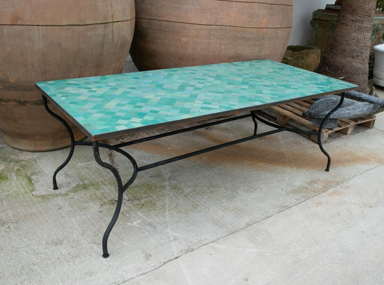 Rectangular Spanish Green Glazed Zellige Tiled Iron Outdoor Table In Good Condition For Sale In Malaga, ES