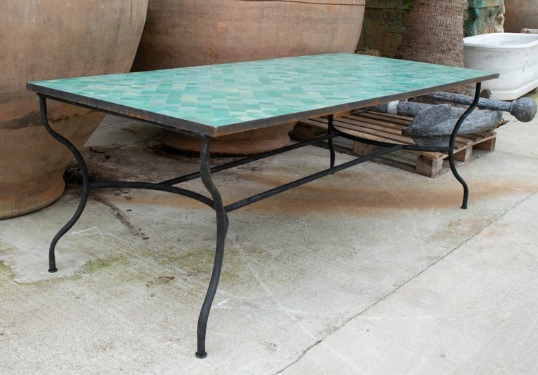 Contemporary Rectangular Spanish Green Glazed Zellige Tiled Iron Outdoor Table For Sale