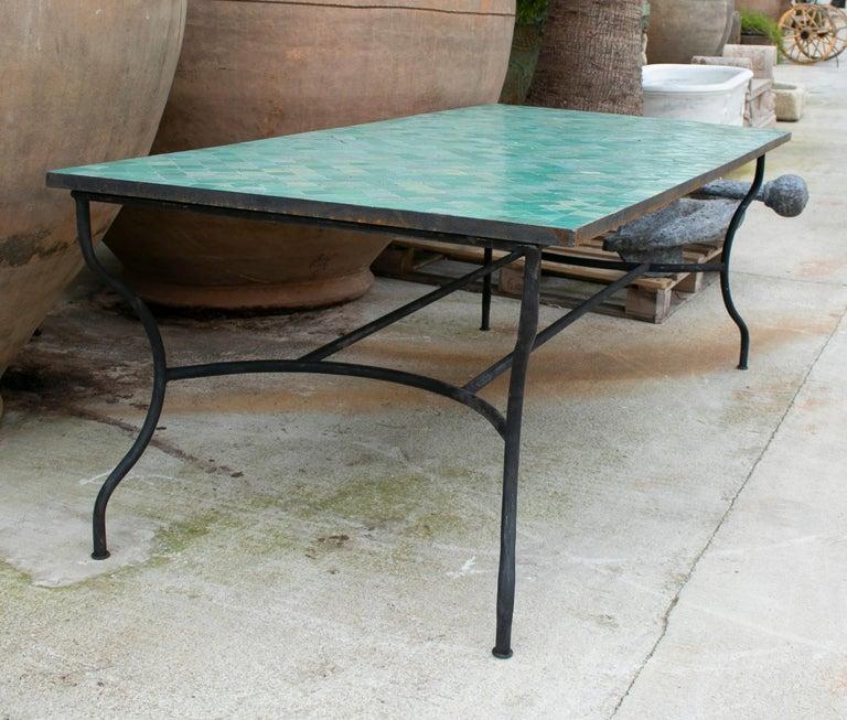 Ceramic Rectangular Spanish Green Glazed Zellige Tiled Iron Outdoor Table For Sale