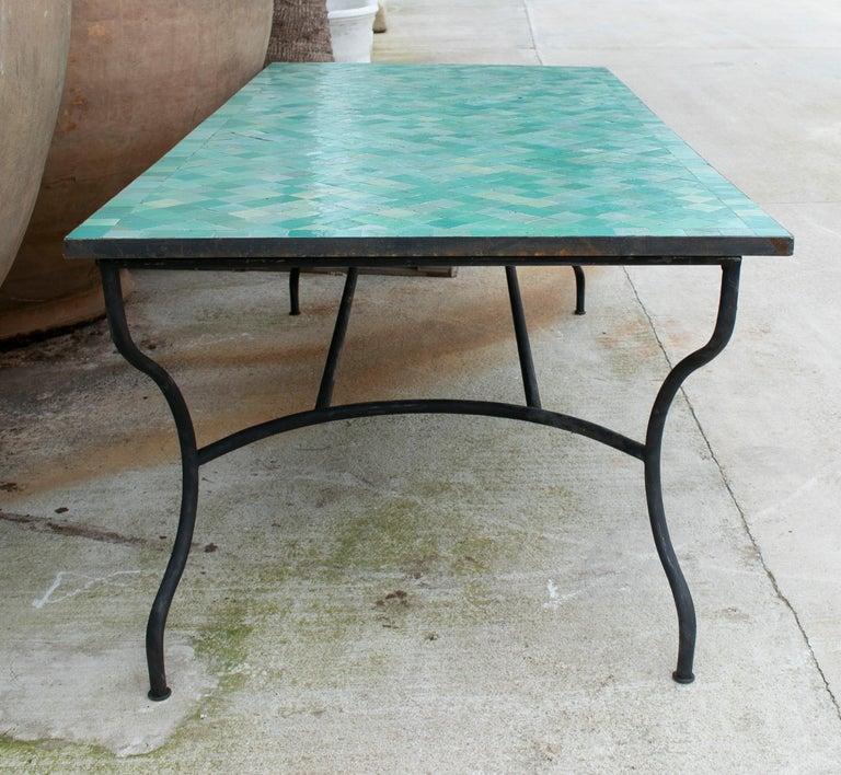 Rectangular Spanish Green Glazed Zellige Tiled Iron Outdoor Table For Sale 1