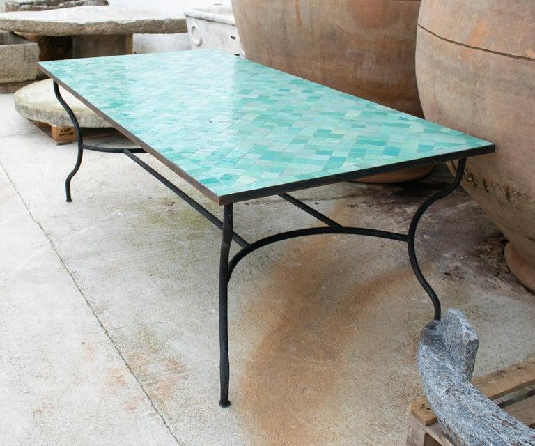 Rectangular Spanish Green Glazed Zellige Tiled Iron Outdoor Table For Sale 2