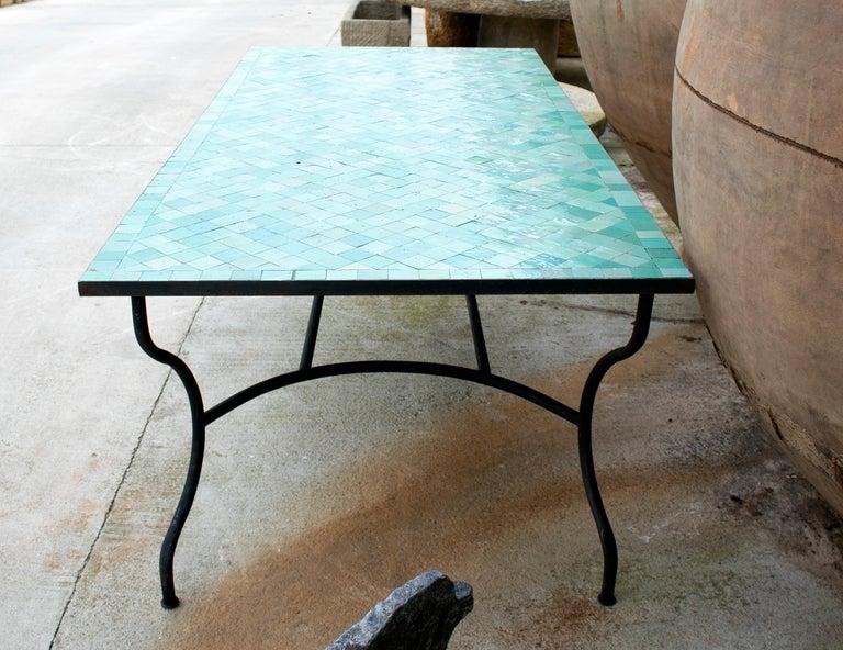 Rectangular Spanish Green Glazed Zellige Tiled Iron Outdoor Table For Sale 3