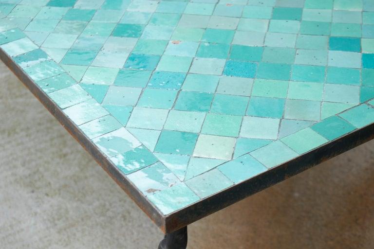 Rectangular Spanish Green Glazed Zellige Tiled Iron Outdoor Table For Sale 4