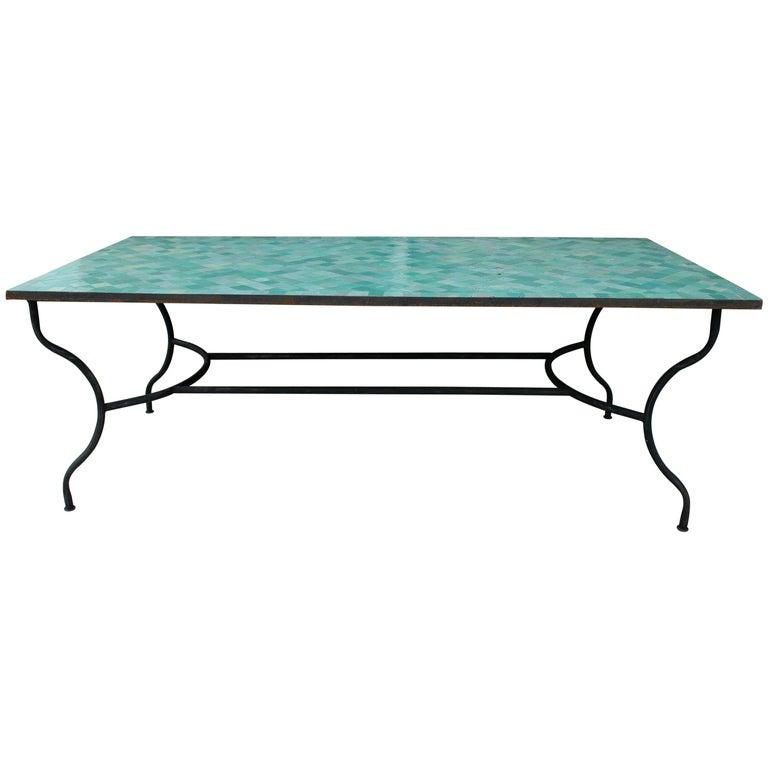 Rectangular Spanish Green Glazed Zellige Tiled Iron Outdoor Table For Sale