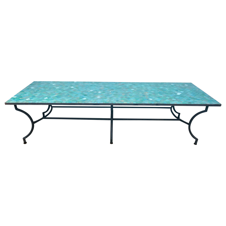 Rectangular Spanish Green Glazed Zellige Tiled Iron Outdoor Table