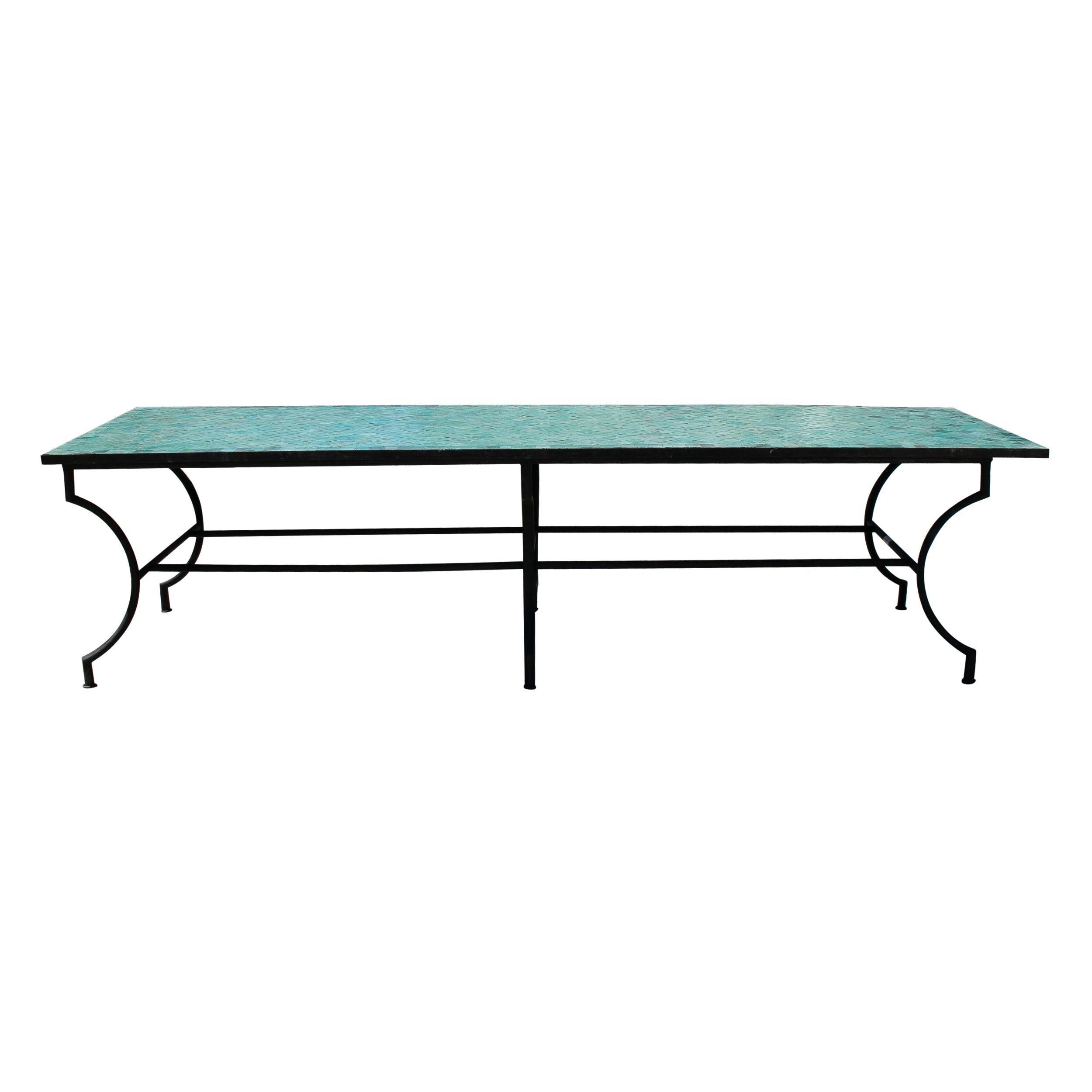 Rectangular Spanish Green Glazed Zellige Tiled Mosaic Iron Outdoor Table