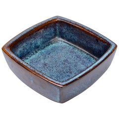 Danish Mid-Century Modern Blue rectangular Stoneware bowl by Stogo