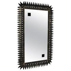 Rectangular Sunburst Mirror in Parcel Gilt Black Metal, 1950s