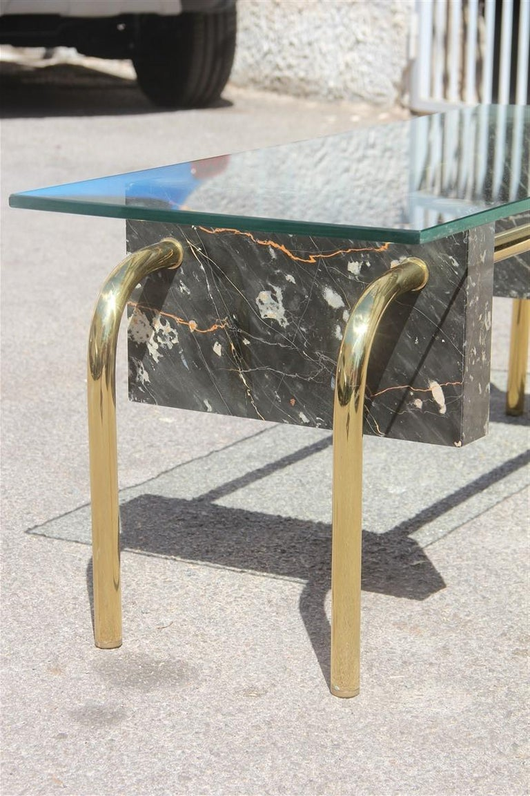 Rectangular Table Coffee Italian Design 1970s Brass Marble Portoro Glass Top For Sale 6