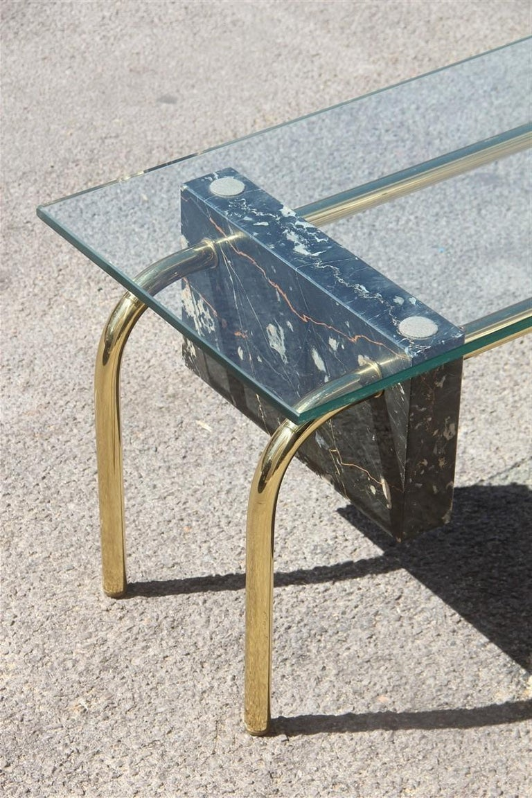 Mid-Century Modern Rectangular Table Coffee Italian Design 1970s Brass Marble Portoro Glass Top For Sale