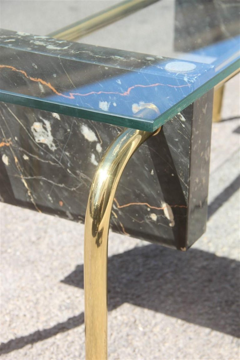 Rectangular Table Coffee Italian Design 1970s Brass Marble Portoro Glass Top In Good Condition For Sale In Palermo, Sicily