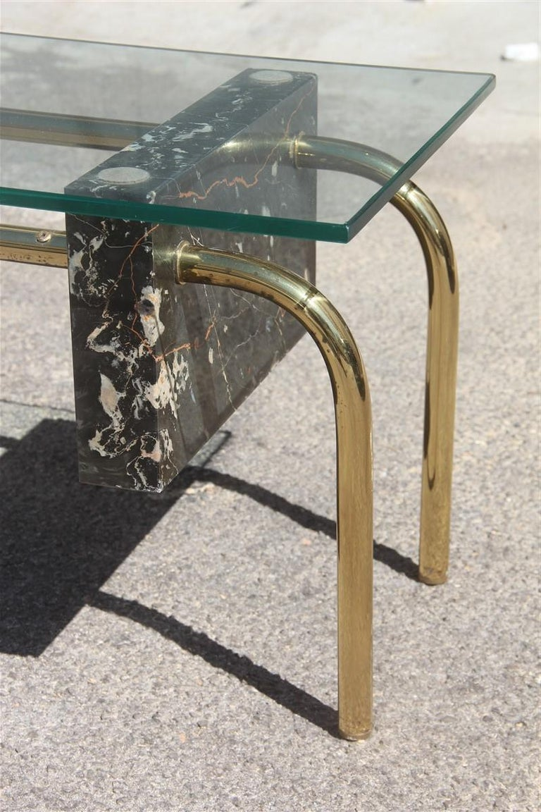 Rectangular Table Coffee Italian Design 1970s Brass Marble Portoro Glass Top For Sale 2