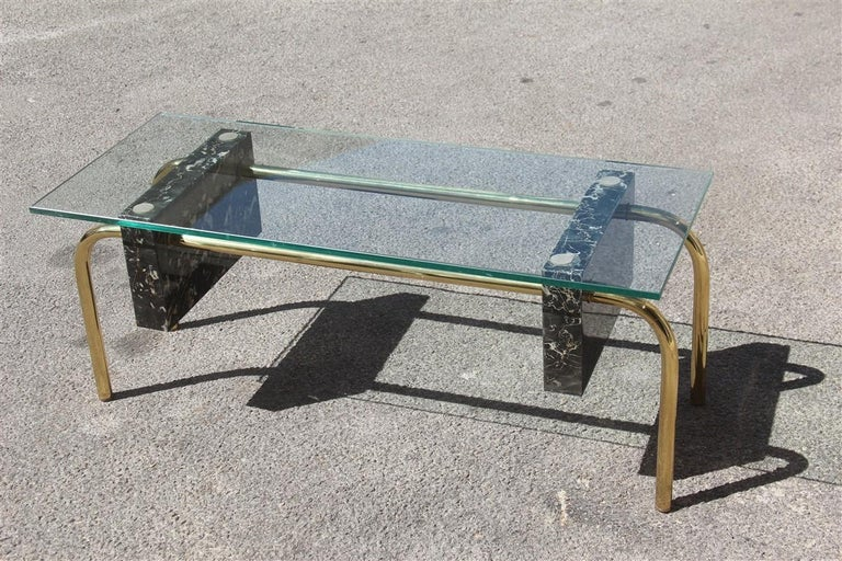 Rectangular Table Coffee Italian Design 1970s Brass Marble Portoro Glass Top For Sale 4