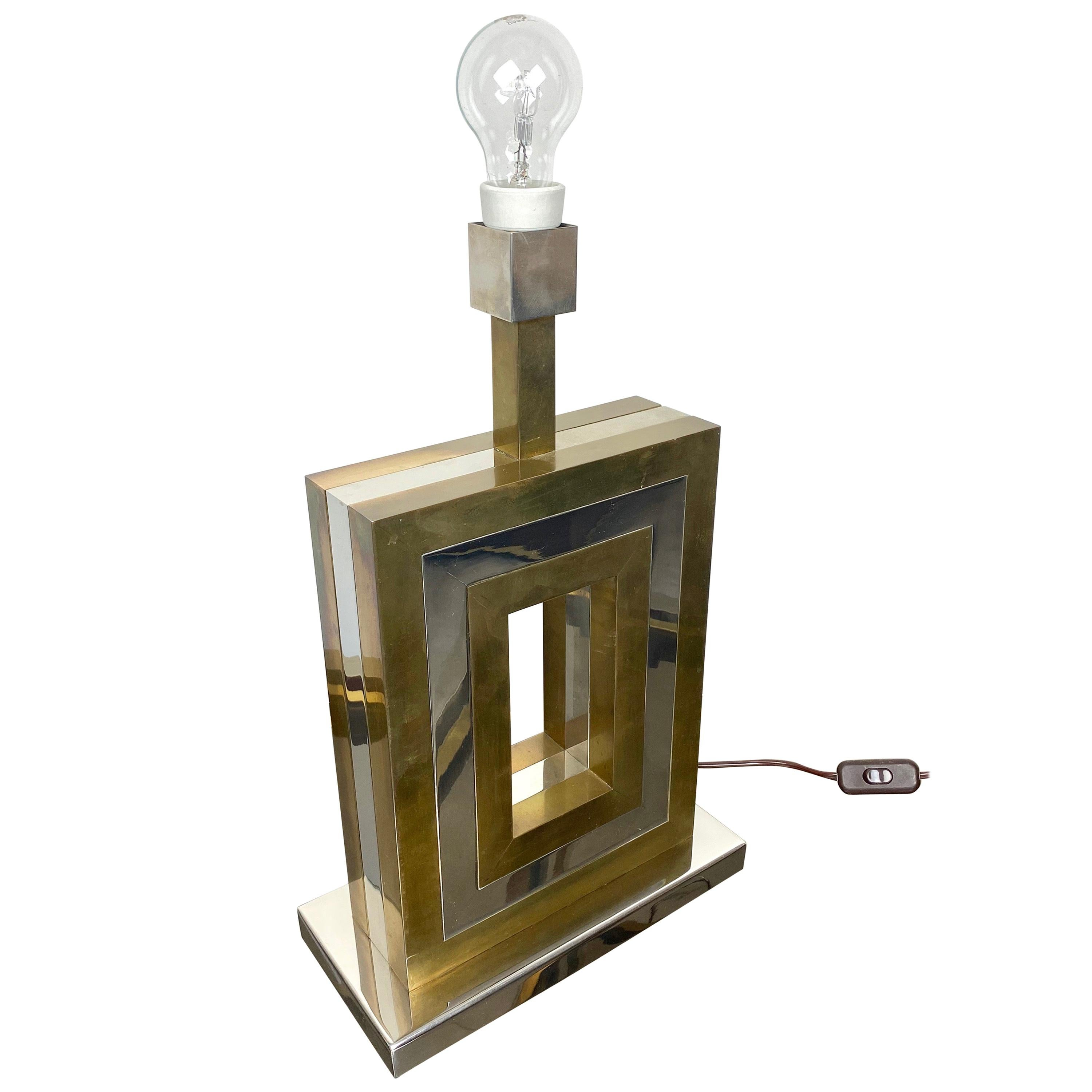 Rectangular Table Lamp in Brass and Chrome, Romeo Rega style, Italy, 1970s