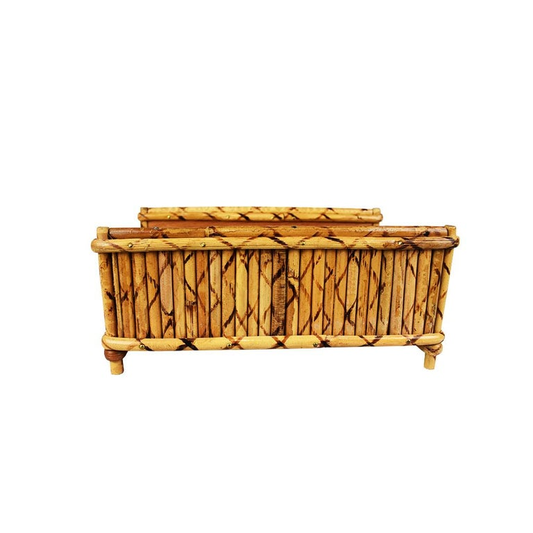 Tortoise bamboo desk organizer or napkin platter. Rectangular in form, the base is created from wood and flanked on the sides and edges with a lovely tortoise bamboo or burnt bamboo rattan or wicker detail.