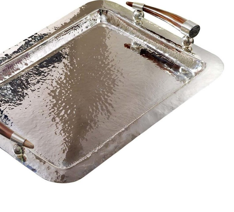 Italian Rectangular Tray with Horn Handles For Sale