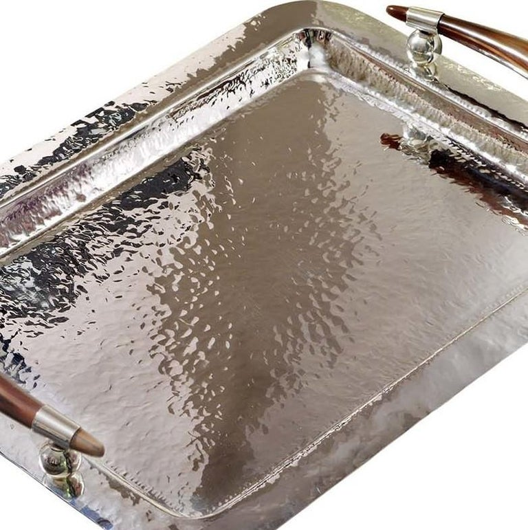Rectangular Tray with Horn Handles In New Condition For Sale In Milan, IT