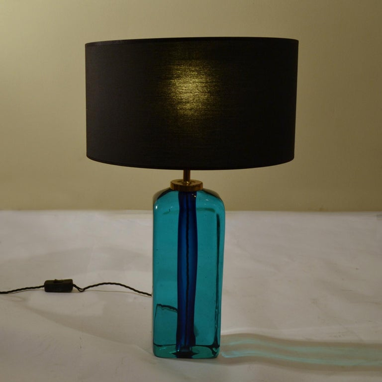 Mid-Century Modern solid glass rectangular table lamp in turquoise and deep blue hand blown, by Seguso, Sommerso Murano, 1960s, Italy.