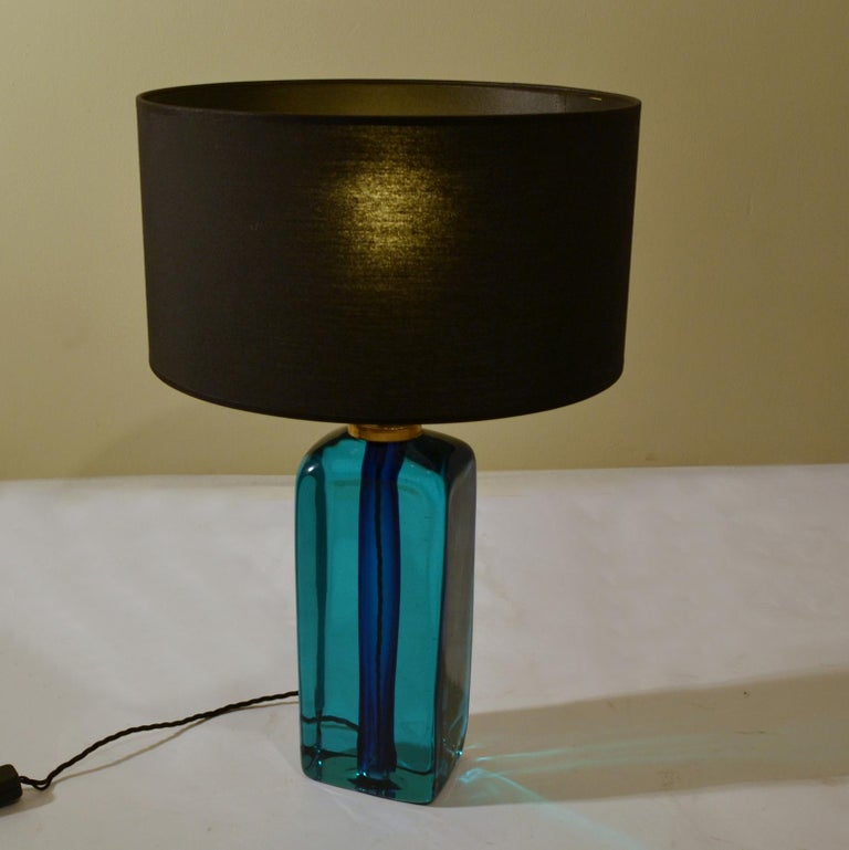 Mid-Century Modern Rectangular Turquoise Blue Glass Table Lamp Hand Blown, Seguso, Sommerso, 1960s	 For Sale