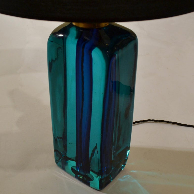 Italian Rectangular Turquoise Blue Glass Table Lamp Hand Blown, Seguso, Sommerso, 1960s	 For Sale