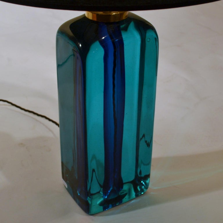 Rectangular Turquoise Blue Glass Table Lamp Hand Blown, Seguso, Sommerso, 1960s	 In Excellent Condition For Sale In London, GB