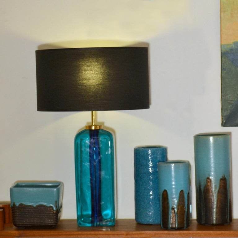 Art Glass Rectangular Turquoise Blue Glass Table Lamp Hand Blown, Seguso, Sommerso, 1960s	 For Sale