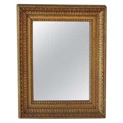 Rectangular Vintage Mirror with Gold Leaf Wood Frame