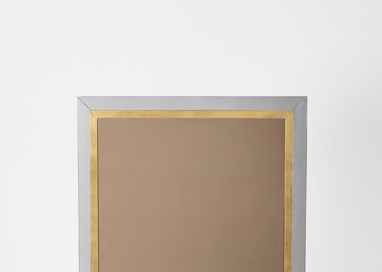 Brass Rectangular Wall Mirror, European, Mid-20th Century For Sale