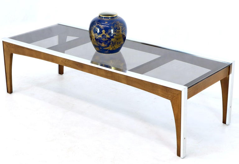 Mid-Century Modern Rectangular Walnut Aluminum Frame Smoked Glass Coffee Table For Sale