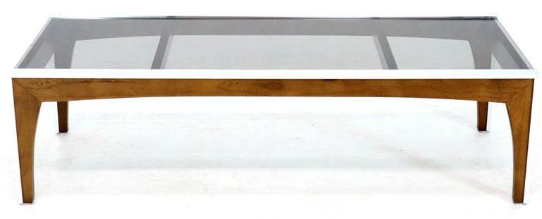 American Rectangular Walnut Aluminum Frame Smoked Glass Coffee Table For Sale