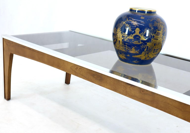 Rectangular Walnut Aluminum Frame Smoked Glass Coffee Table In Good Condition For Sale In Blairstown, NJ