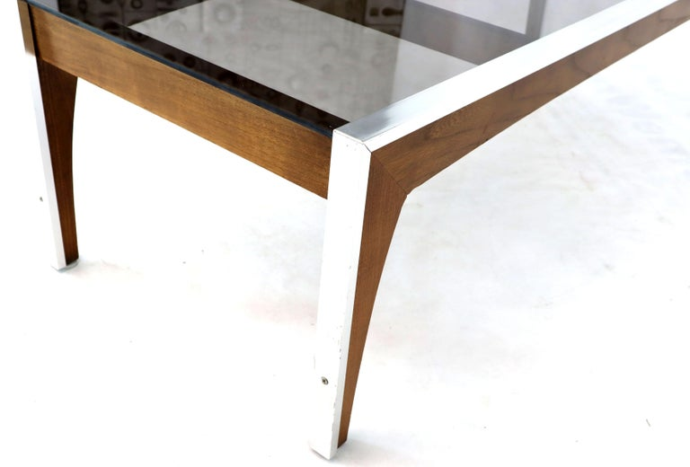 20th Century Rectangular Walnut Aluminum Frame Smoked Glass Coffee Table For Sale