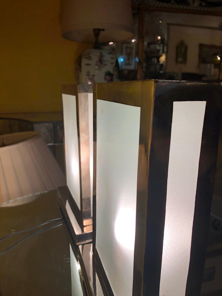 Rectangular White Brass Table Lamp, a Pair In Good Condition For Sale In Plainview, NY