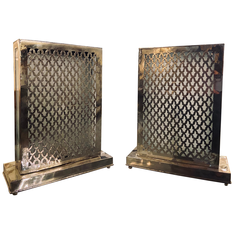 Rectangular White Brass Table Lamp, a Pair