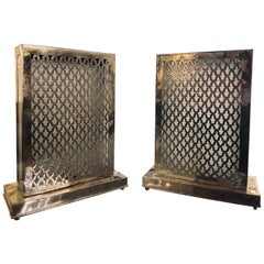 Rectangular White Brass Table Lamp, a Pair